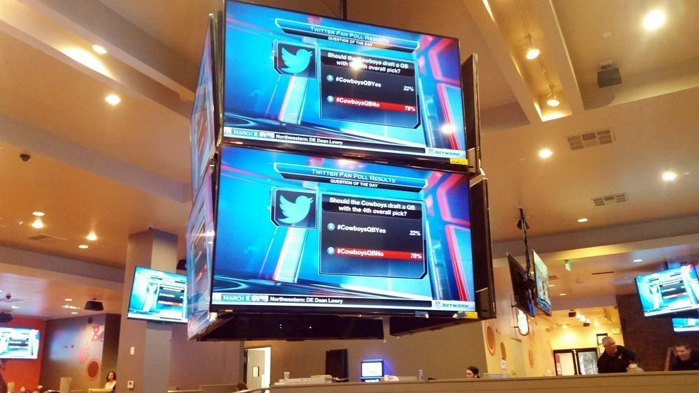 This is a picture of a jumbo Tron at Hooters San Diego installed by San Diego Pro AV Company Shultz Audio Video